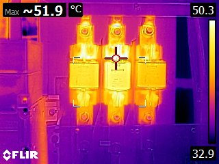Sicherungen mit Wärmebildkamera fotografiert